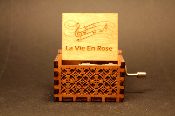 Engraved Wooden Music Box La Vie En Rose Invenio Crafts