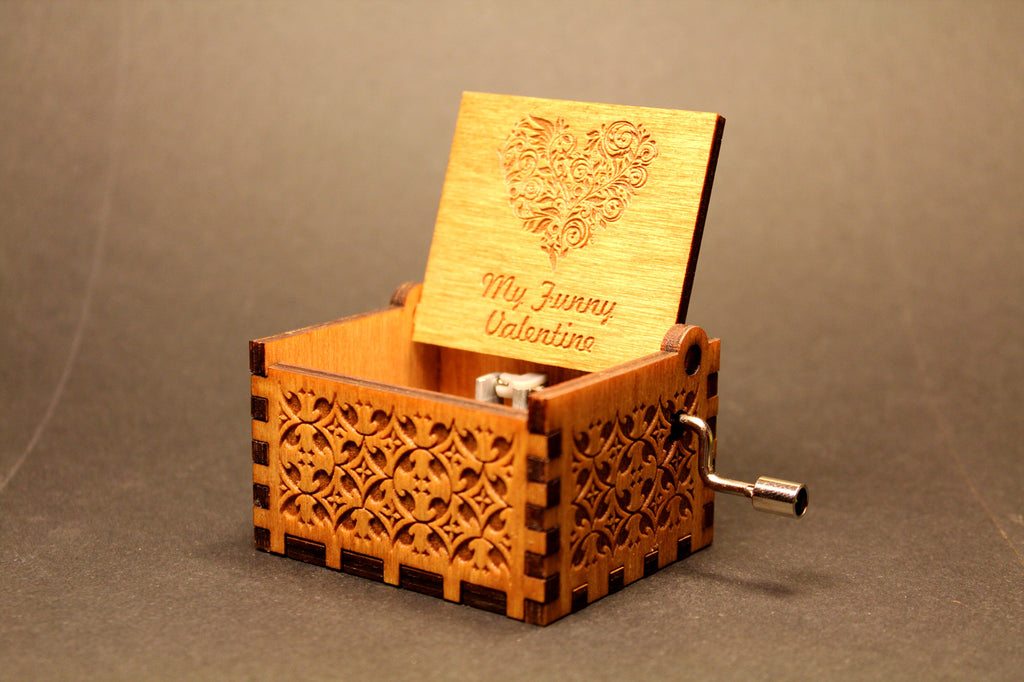 Engraved wooden music box My Funny Valentine