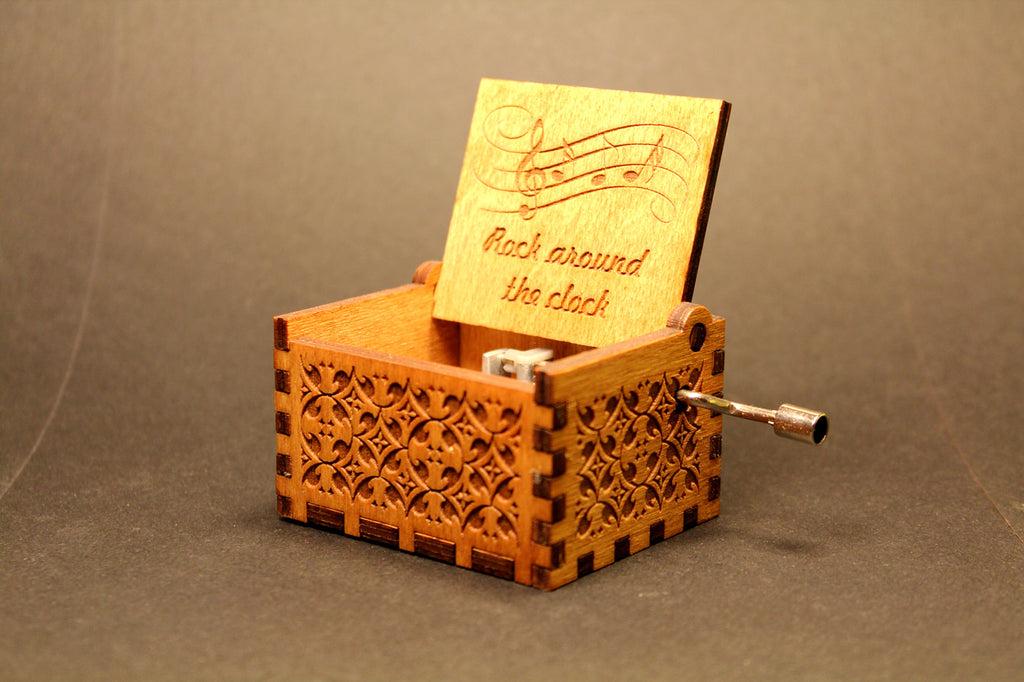 Engraved wooden music box Rock Around The Clock