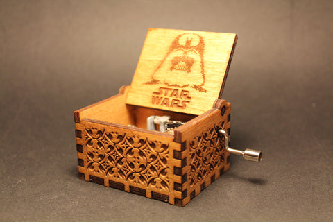 Engraved wooden music box Star Wars Theme