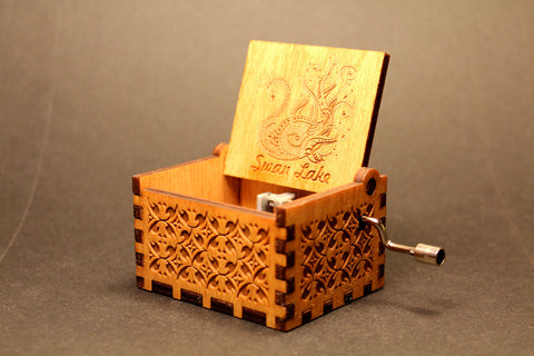 Engraved wooden music box Swan Lake