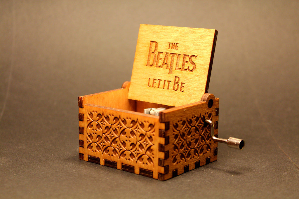 Engraved wooden music box The Beatles Let It Be
