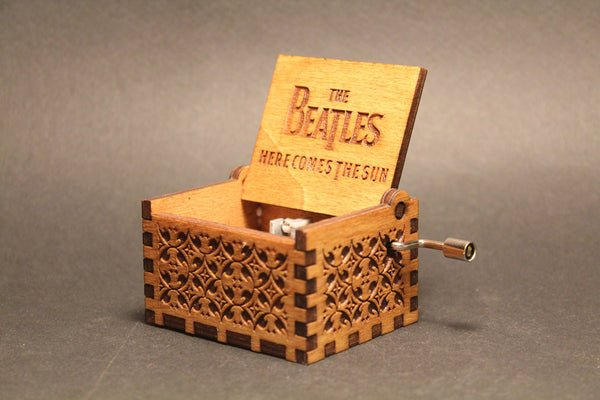 Engraved wooden music box The Beatles - Here Comes The Sun