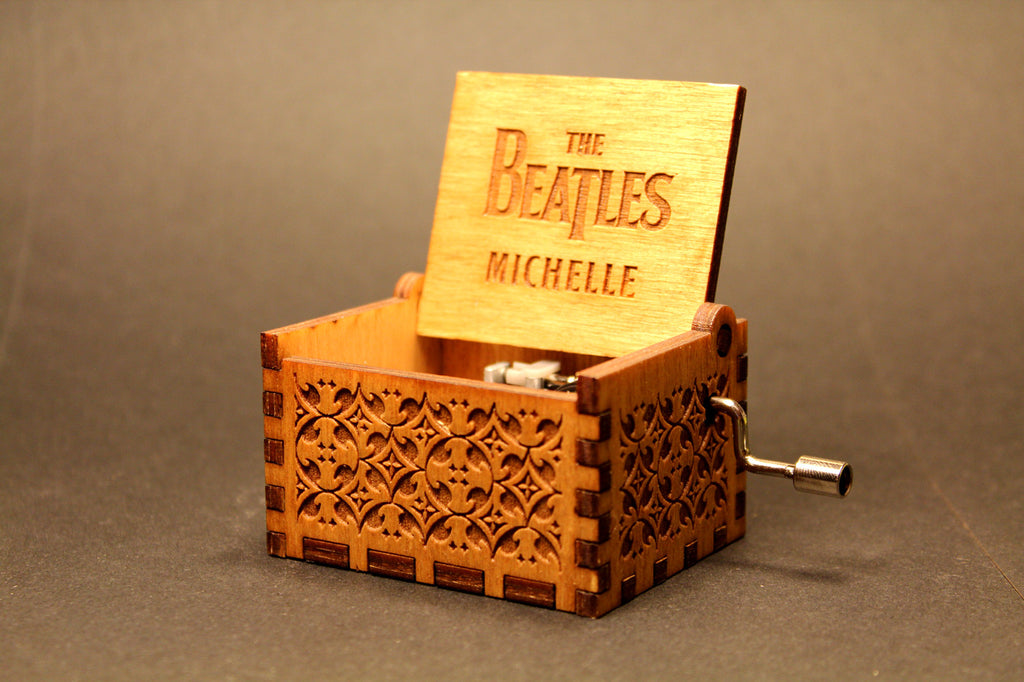 Engraved wooden music box The Beatles - Michelle