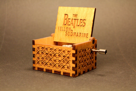 Engraved wooden music box The Beatles - Yellow Submarine