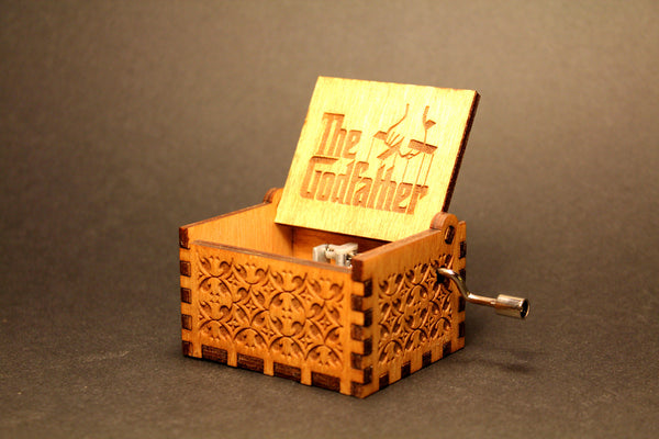 Engraved wooden music box The GodFather
