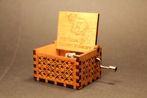 Engraved Wooden Music Box The Lion King The Lion Sleeps
