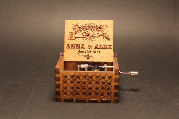Engraved wooden music box Customized Wedding Favor
