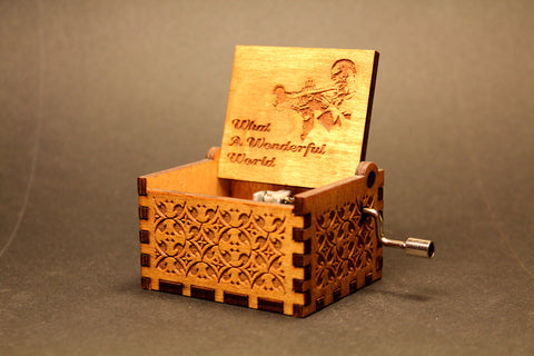 Engraved wooden music box What A Wonderful World