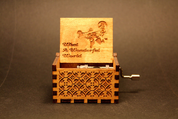 Engraved wooden music box When The Saints
