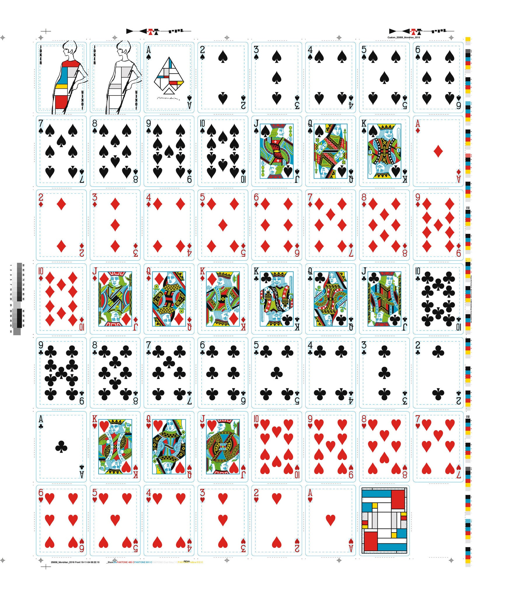 Mondrian Playing Cards Uncut Sheet
