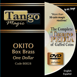Okito Coin Box (BRASS w/DVD)(B0028) One Dollar by Tango Magic - Trick - Got Magic?