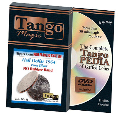 Flipper Coin Pro Elastic Half Dollar 1964 (w/DVD) (D0138) by Tango - Trick - Got Magic?