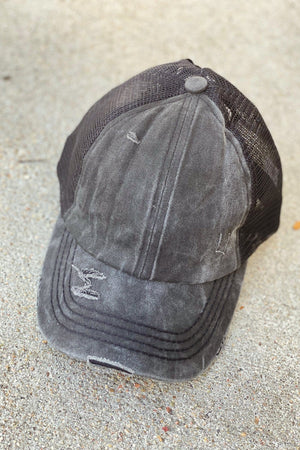 X-Back Distressed Plain CC Hat | Vintage Black - discounted-upsells-test-7