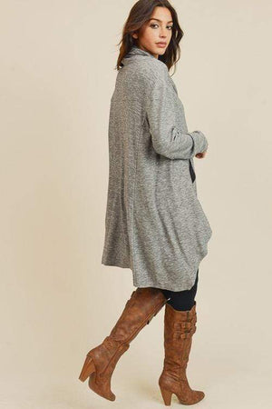 J.J. Oversized Tunic Cowl Top | Heather Grey - discounted-upsells-test-7