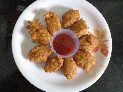 Torrential Rain Fritters Served with Ketchup