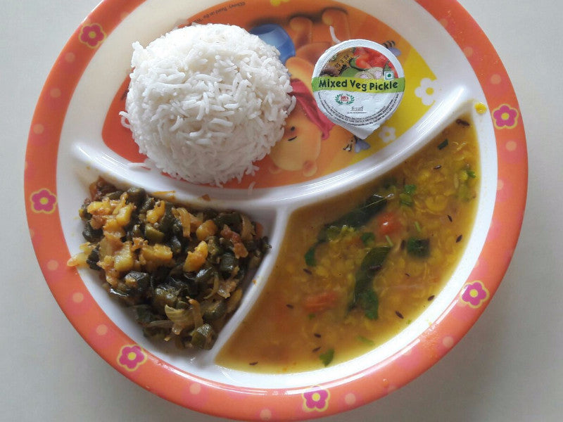 Bhindi & Aloo Mix Dry Sabji, Dal, Chawal, Pickle & Surprise Sweet -  - Homely - By Anju Singh
