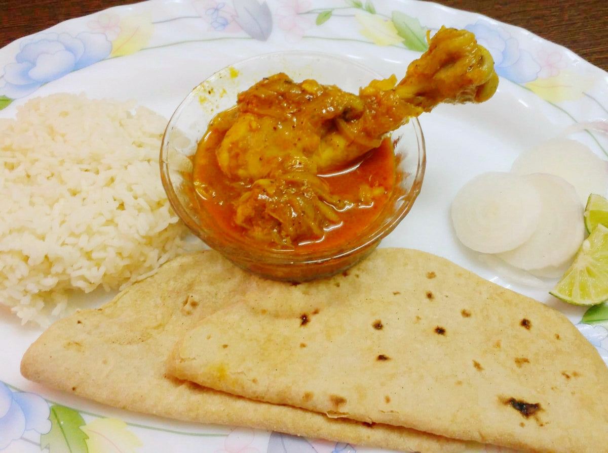 Spicy Chicken Curry, Rice, Roti and Salad -  - Homely - By Nitu Mishra