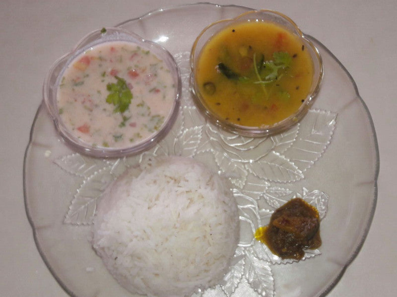 Dal Tadka & Steamed Rice with Homemade Mango Pickle