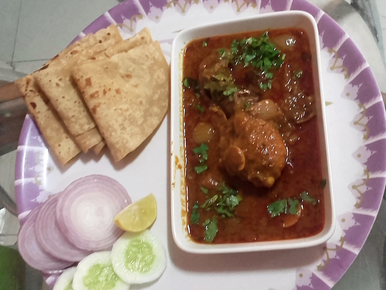 Chicken Drum Red Malasa Gravy, Chaptis(3), Onion Salad -  - Homely - By Ashok Thakur