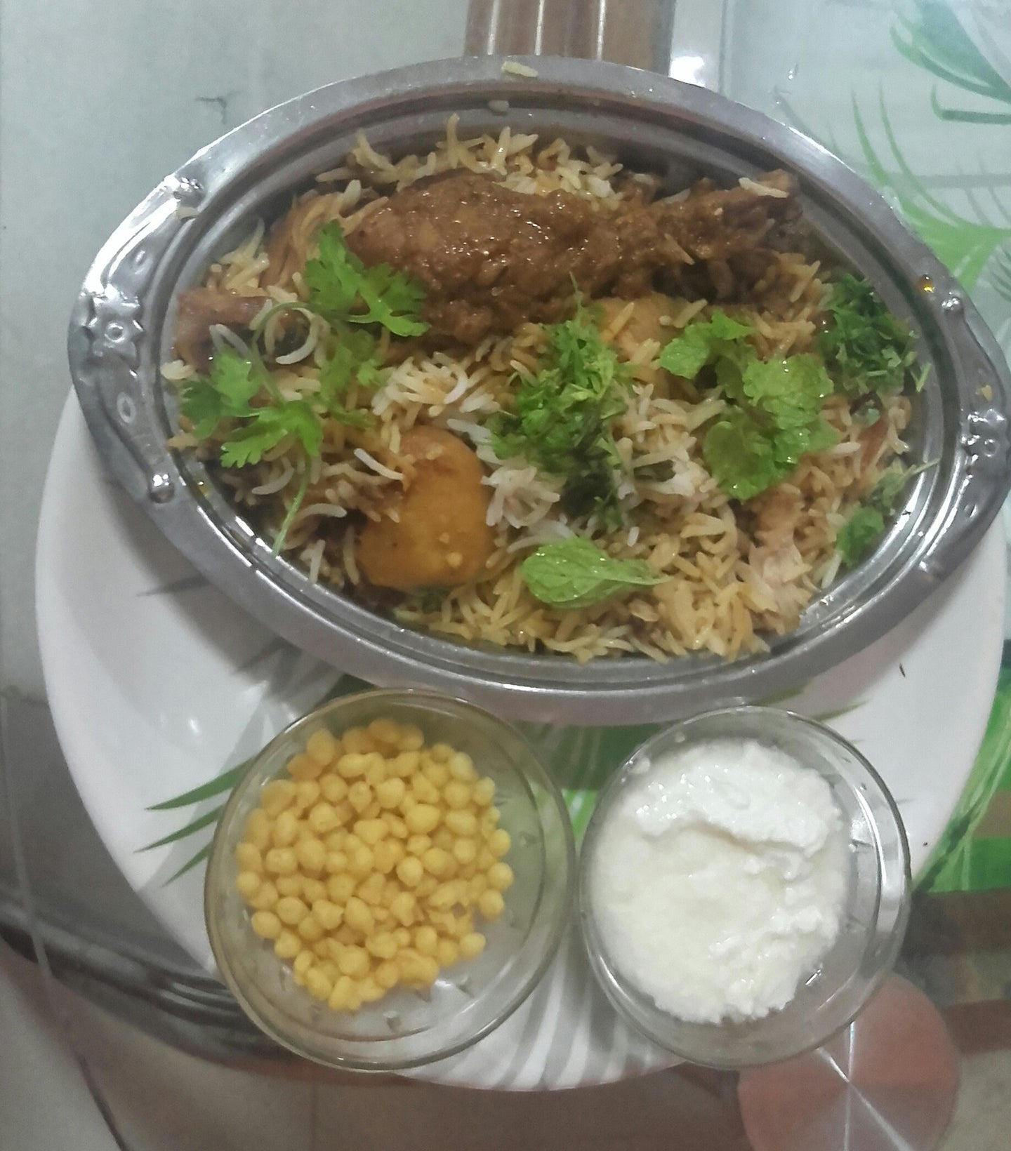 Hyderabadi Chicken Drum Piece Biryani With Boondi Raita & Onion Salad -  - Homely - By Ashok Thakur