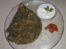 Palak Paratha(4) with curd.