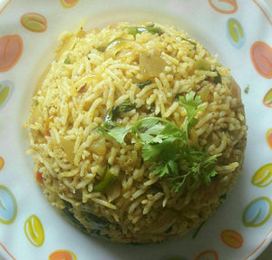 Aloo, Onion & Tomato Mix Spicy Rice Pulao & Curd