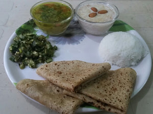 Bhindi ki Sabji with Roti, Dal, Rice And Sweet