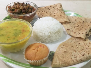 Chana Masala with Roti, Rice, Dal, Raita and Sweet