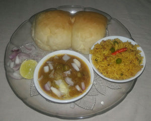 Butter Pav (2) Bhaji with Veg Pulav, Chopped Onion & Lemon