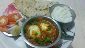 Egg Masala with Chapati or Bhakhri Rice, & Salad