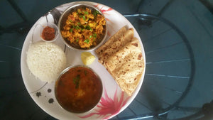 Cauliflower Sabji, with Dal, Rice, Chapati & Dessert