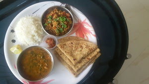 Palak Dal, Usaal,Rice with Chapati, Papad, & Pickle