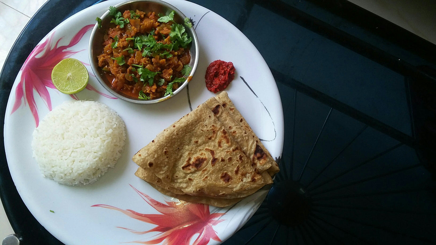 Soya Sabji with Chapati & Rice