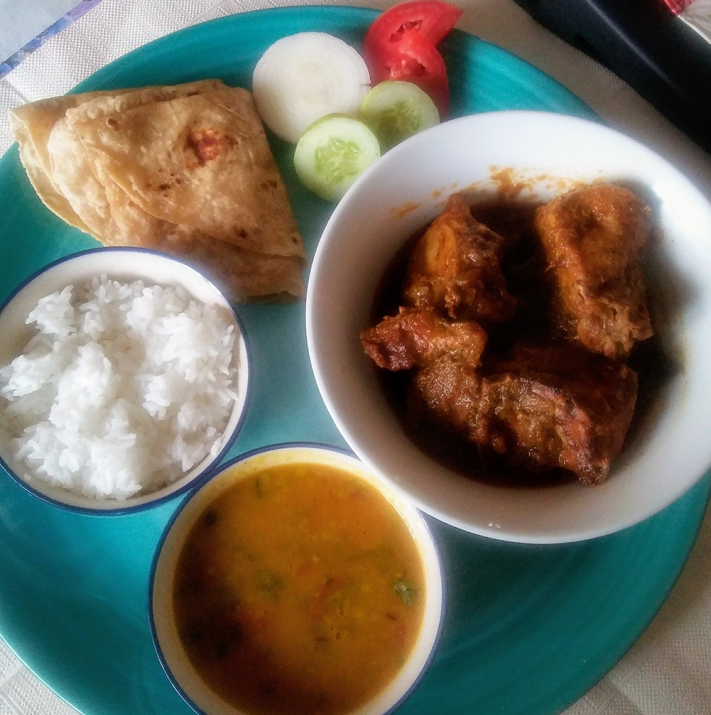 Chicken Curry with Chapatti(3) Rice & Dal Tadka & Salad