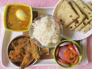 Egg Curry with Bombil (Bombay Duck) Fish Fry, Chapati, Rice and Salad