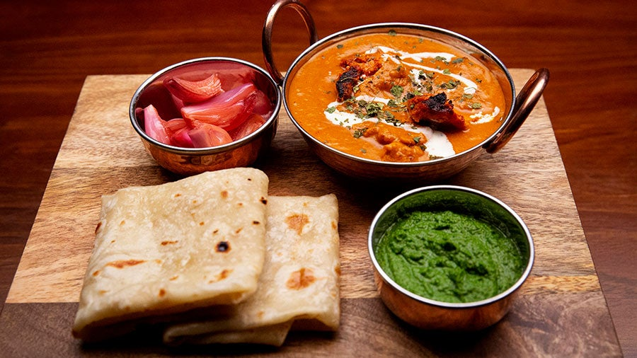 Homely Mini Treat : Chicken Curry With Paratha (2), Salad, Raita and Chutney