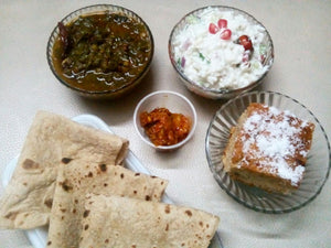 Masoor Palak, Chapatis, Curd Rice, Pickle and Banana Date Cake(eggless) -  - Homely - By Meghana Desai