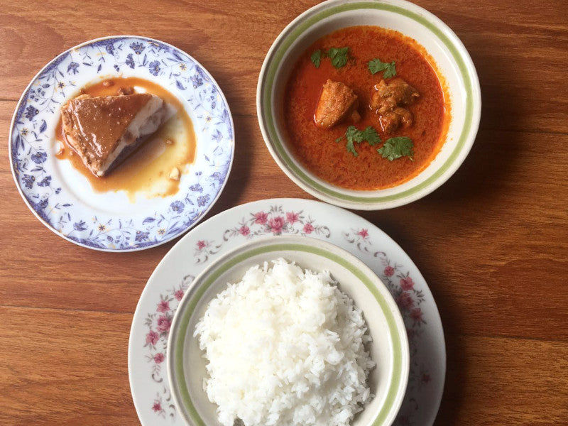 Steamed Rice, Chicken Curry and Caramel Pudding -  - Homely - By Philomeena Fernandes