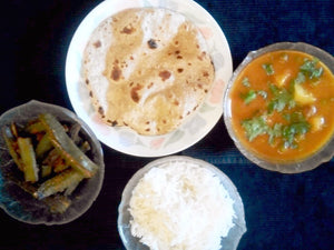 Aloo Mattar Masala, Stuffed Bhindi, Steamed Rice, Ghee Rotis(4) -  - Homely - By Rashmi Ahuja