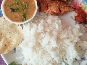 Bangda (Mackerel) Fish Fry (1 pc) with Aamti(Spicy Dal), Rice and Papad