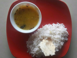 Matar & Pumpkin Dal with Plain Rice & Papad
