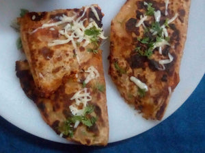 Non Veg Pizza Paratha (2) - Chicken Mixed with Cheese & Topped on Special Homemade Sauce & Paratha Base -  - Homely - By Meghana Desai
