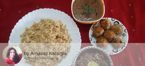 Dhansak Dal (Veg) with Brown Rice with Chicken Kebab (6 nos) and Salad -  - Homely - By Arnavaz Karanjia