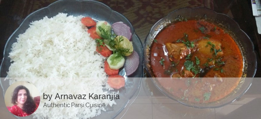 Authentic Parsi Chicken, Mutton and Prawns Dishes by Arnavaz Karanjia - Chicken Curry (300 ML) with Rice (750 ML) and Salad - Homely - By Arnavaz Karanjia - 1