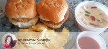 Spicy Chicken Burgers (2) with Wafers and Fruit Salad in Orange Custard -  - Homely - By Arnavaz Karanjia - 1