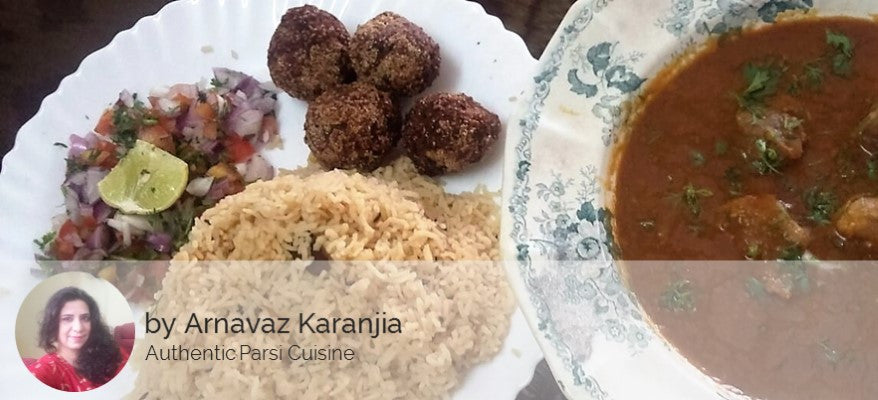 Mutton Dhansak with Mutton Kebab (3 / 6) served with Brown Rice (450 ML / 750 ML) and Salad -  - Homely - By Arnavaz Karanjia - 1