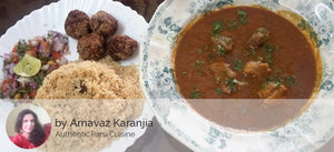 Authentic Parsi Chicken, Mutton and Prawns Dishes by Arnavaz Karanjia - Mutton Dhansak (300 ML) with Mutton Kebabs (5nos), Rice (750 ML) and Salad - Homely - By Arnavaz Karanjia - 3