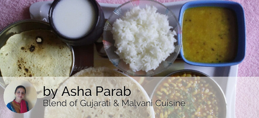 Chawli (Black Eyed Beans) ki Sabji with Chapati, Dal Tadka, Rice, Papad & Butter Milk -  - Homely - By Asha Parab