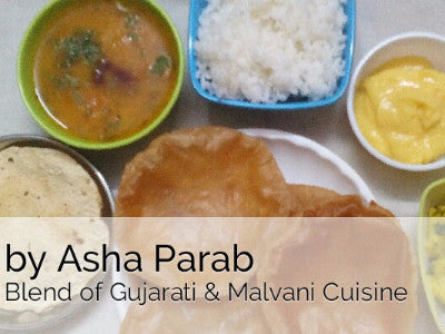 Aloo ki Sabji, Puri (6) with Amrakhad (Mango Shrikhand) Dal Tadka, Rice & Papad -  - Homely - By Asha Parab
